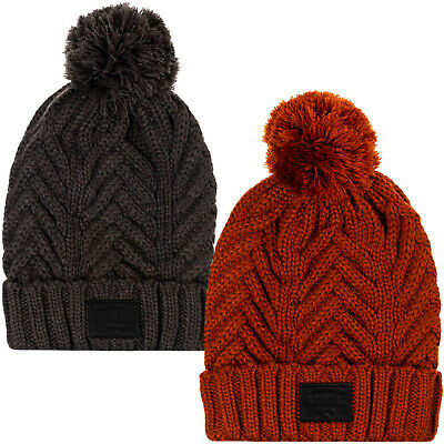 Animal Mens Irving Knitted Warm Roll Up Woolly Cable Knit Bobble Beanie Hat