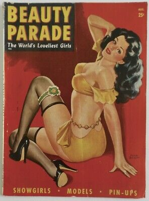 Aug. 1946 Beauty Parade Girlie Magazine Strippers Peter Driben Pin-Up Cover Art