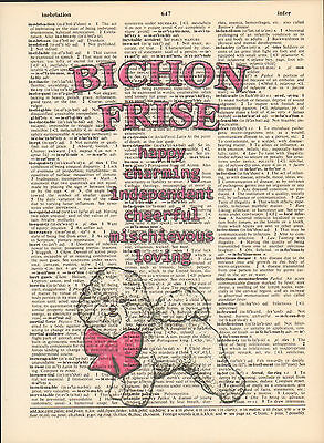 Bichon Frise Dog Traits Altered Art Print Upcycled Vintage Dictionary Page