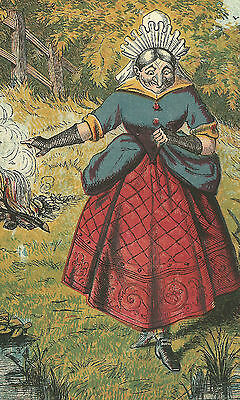 Crazy Old Woman Water Quench Fire Chromolithograph c1870 Antique Print Matted