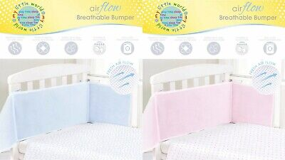 Airflow Breathable Baby Bumper Mesh Nursery Cot Liner Wrap Cot Bed Pink Blue