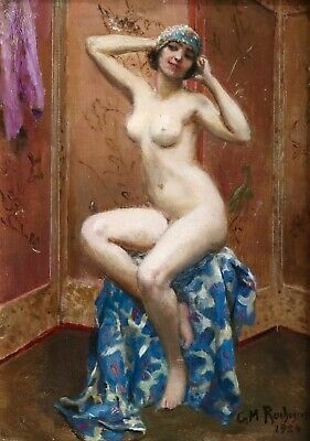 GEORGES ROCHEGROSSE (1859-1938) SIGNED 1924 FRENCH OIL NUDE GIRL to £80,000