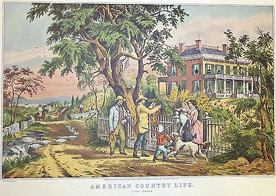"""COUNTRY LIFE OCTOBER/"""" Color Print Lithograph 1972 Vintage Currier /& Ives /""""AM"""