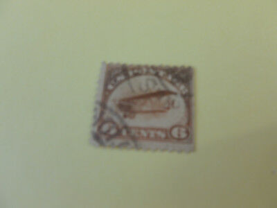 Sc#C1 6c Jenny Airmail Stamp (Used) Brownish Color-Prior Hinge  [AUCTION #4]