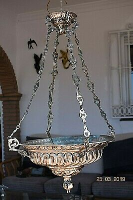 ANTIQUE FRENCH SILVER CHURCH SANCTURY CANDLE LAMP RARE BEAUTIFUL  c1880  28 ins