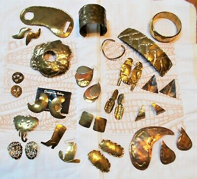 Handcrafted Vintage Brass and Copper Jewelry some signed by artist Shirley 20 pc
