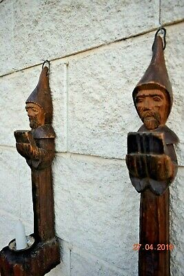 Antique French  Carved Wood  Gothic Wall Sconces As Monks
