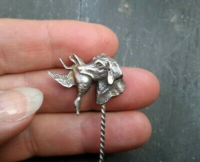 Antique Victorian Solid Silver Gun Dog With Duck Stick Pin Hunting  Af