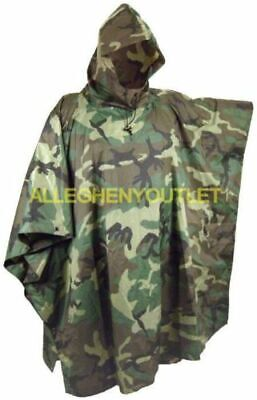 USGI Military Wet Weather Hooded Rip-Stop Rain Poncho Woodland Camo EXCELLENT