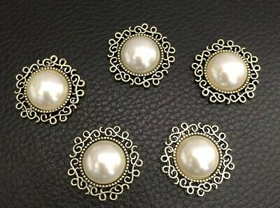 10 Vintage Pearl Flatback Button Embellishment Craft Wedding