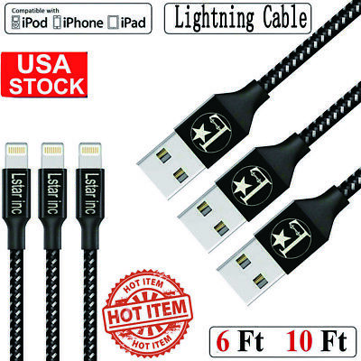 New Apple Lightning Cable Heavy Duty For iPhone 8 7 6Plus X XR IPad Charger Cord