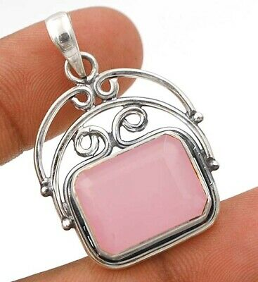 Faceted Rose Quartz 925 Solid Sterling Silver Pendant Jewelry C18-2