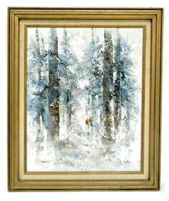 "20Th Century Oil On Canvas Winter Scene In Forest Signed ""L.dalan"""