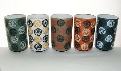 SMALL Rare MODERN 5 NEW Pottery VASES or TUMBLERS Variations on a THEME & Labels