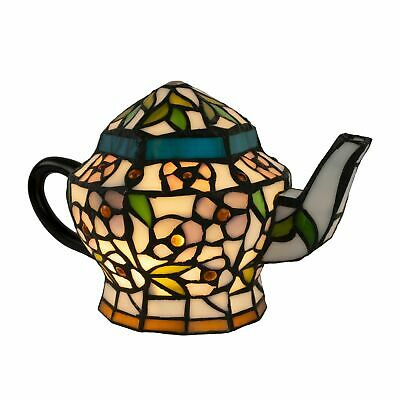 Tiffany Style Teapot Table Desk Lamp Stained Glass LED Bulb Lighted Artwork