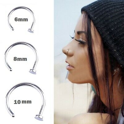 Sterling Silver Nose Ring Hoop Small Thin Piercing Stud Piercing Body Jewellery