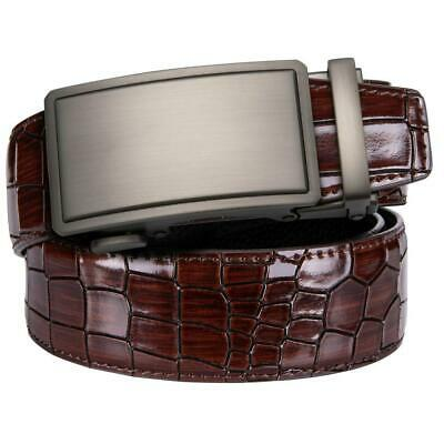 Cool Men's Belts Red Genuine Leather Silvery Solid Automatic Buckles Belts Gift