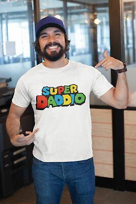 Mens Fathers Day Gift T-Shirt SUPER DADDIO Funny Dad Birthday Retro Daddy Top