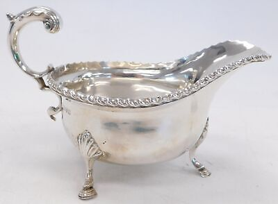Antique GEORGE NATHAN & RIDLEY HAYES Chester, 1911 Solid Silver SAUCE BOAT - T04