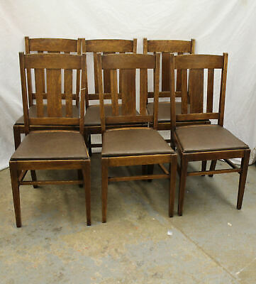 Antique Matching Oak Mission Chairs Set of Six – Arts and Crafts Style