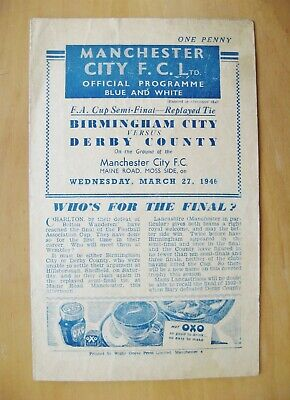 1946 FA Cup Semi-Final Replay BIRMINGHAM CITY v DERBY COUNTY Good Cond Programme