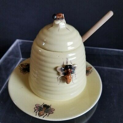 Antique Honey Pot with Lid, Wand and Saucer, Beautiful Bees