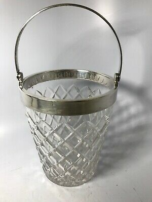 Beautiful Antique English Crystal Cut Glass Ice Bucket W/ Sterling Silver Rim