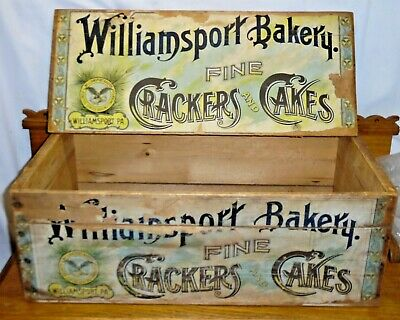 Antique Fine Crackers And Cakes Wood Crate - Williamsport Bakery Pennsylvania PA