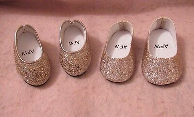 2 Pair of Gold Shoes fit American Girl Doll 18 Inch Clothes Seller lsful