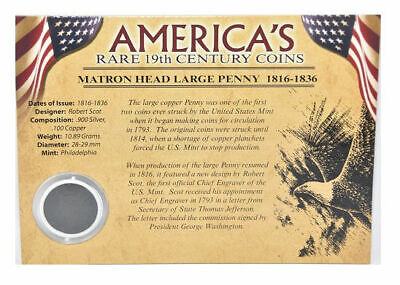 First Commemorative Mint America's Rare 19th Century Coins 1816-36 Large Penny
