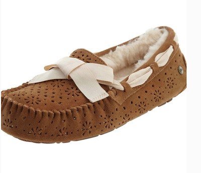 6cb14772651 NIB UGG DAKOTA SUNSHINE PERF SUEDE SHEEPSKIN MOCCASIN SLIPPERS 6 37 ...