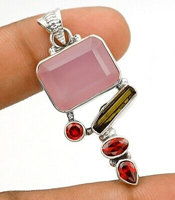 Faceted Rose Quartz 925 Solid Sterling Silver Pendant Jewelry C18-7
