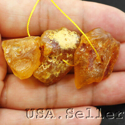 29.5CT 100% Baltic Natural Yellow 3pcs Amber Nugget Beads 25x20x6mm D159