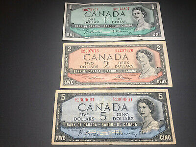 1954 Bank of Canada Set of 3 Bills $1 $2 $5 - Nice Shape