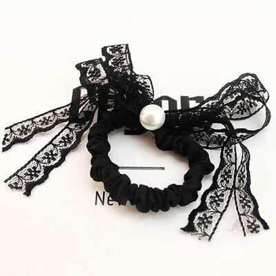 Black Lace Bow Knot Bun Hair Tie Scrunchie Ring Pearl Ponytail Holder B