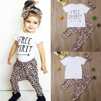 a072d53eb 3PCS Baby Girls Outfits T-shirt+Pants Set Toddler Summer Clothes Tracksuit  UK