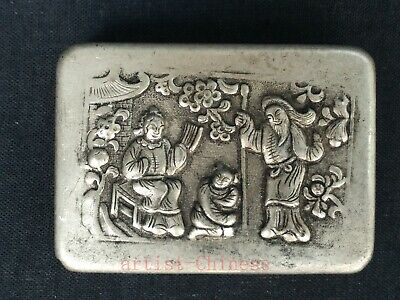 Collection China Tibet Silver Hand Carving Figure Guan Yu Snuff Box ink box