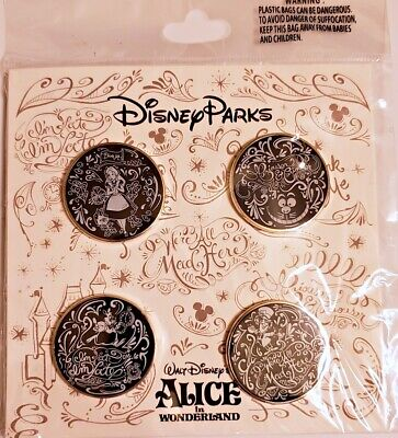 Disney Parks 4 pin set Alice in Wonderland black white booster pack - Sealed NEW