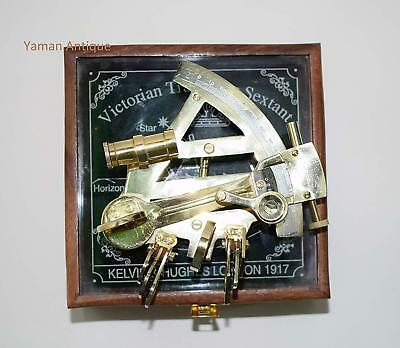 Kelvin N Hughes Nautical Sextant Antique German Patters Sextant With Wooden Box Maritime Navigational Instruments
