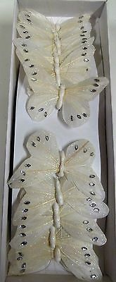 12 x White Feather Butterflies on Wire - with glitter and diamantes (Code 19 )