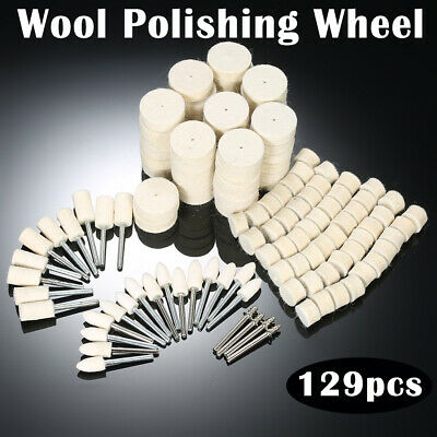 Felt Polishing Buffing Pads Wheel Wool Plastic Dremel Rotary Tool Kit Set 129X