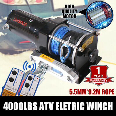 12V 4000LBS /1814KG Electric Winch Cable Wireless Remote Car Boat ATV Trailer
