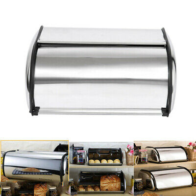 Stainless Steel Bread Box Storage Bin Keeper Food Kitchen Loaf Container