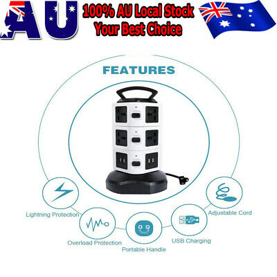 10/14 Ways Power Board Outlets Socket 3 or 4 Level vertical socket 4Usb AU Plug