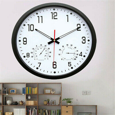 14'' Large Quartz Super Silent Wall Clock Home Office Shop Display Decor Round