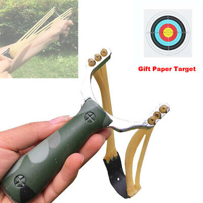 Powerful Stainless Steel Handle Outdoor Hunting Catapult Slingshot Rubber Band