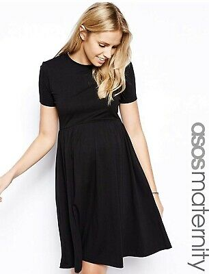 ASOS Black Maternity Skater Dress Size 18 Worn Once Brilliant Condition