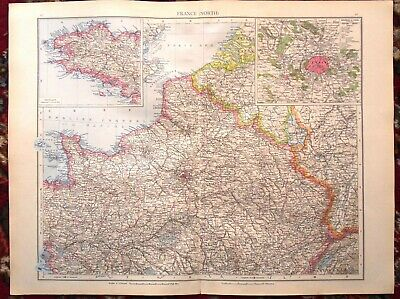 Antique MAP Plan ~ FRANCE FRENCH Northern Part & BRITTANY ~ 1895 120+ Years Old
