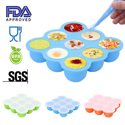 9 Pots Silicone Weaning Baby Food Freezer Tray Storage Container w/ Lid BPA Free