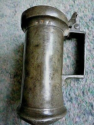 Excellent Antique French Double Decilitre Lidded Pewter Etain Tankard